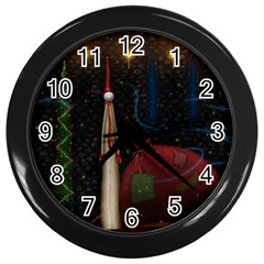 Christmas Xmas Bag Pattern Wall Clocks (Black)