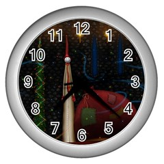 Christmas Xmas Bag Pattern Wall Clocks (Silver)