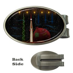 Christmas Xmas Bag Pattern Money Clips (Oval)