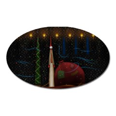 Christmas Xmas Bag Pattern Oval Magnet
