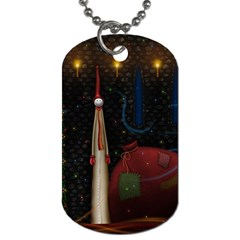 Christmas Xmas Bag Pattern Dog Tag (One Side)