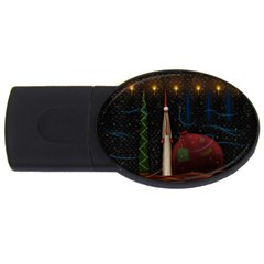 Christmas Xmas Bag Pattern USB Flash Drive Oval (2 GB)