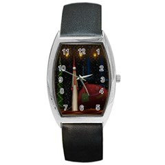 Christmas Xmas Bag Pattern Barrel Style Metal Watch