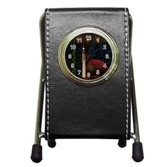 Christmas Xmas Bag Pattern Pen Holder Desk Clocks