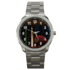 Christmas Xmas Bag Pattern Sport Metal Watch