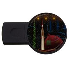 Christmas Xmas Bag Pattern USB Flash Drive Round (4 GB)