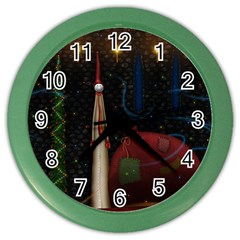 Christmas Xmas Bag Pattern Color Wall Clocks