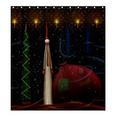 Christmas Xmas Bag Pattern Shower Curtain 66  x 72  (Large)