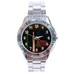 Christmas Xmas Bag Pattern Stainless Steel Analogue Watch