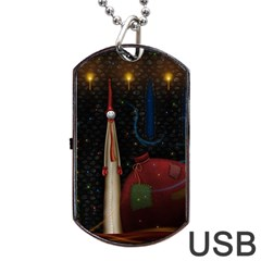 Christmas Xmas Bag Pattern Dog Tag USB Flash (One Side)
