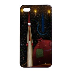 Christmas Xmas Bag Pattern Apple iPhone 4/4s Seamless Case (Black)