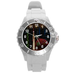 Christmas Xmas Bag Pattern Round Plastic Sport Watch (L)