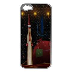 Christmas Xmas Bag Pattern Apple iPhone 5 Case (Silver)