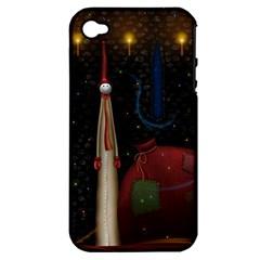 Christmas Xmas Bag Pattern Apple iPhone 4/4S Hardshell Case (PC+Silicone)
