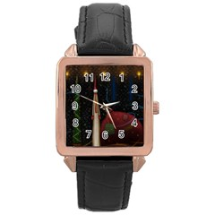 Christmas Xmas Bag Pattern Rose Gold Leather Watch
