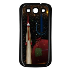 Christmas Xmas Bag Pattern Samsung Galaxy S3 Back Case (Black)