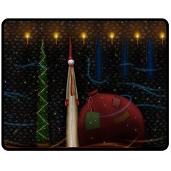 Christmas Xmas Bag Pattern Double Sided Fleece Blanket (Medium)