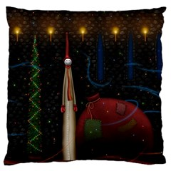 Christmas Xmas Bag Pattern Large Flano Cushion Case (Two Sides)