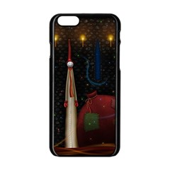 Christmas Xmas Bag Pattern Apple iPhone 6/6S Black Enamel Case