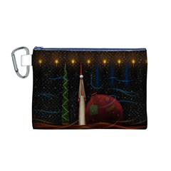 Christmas Xmas Bag Pattern Canvas Cosmetic Bag (M)