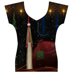 Christmas Xmas Bag Pattern Women s V-Neck Cap Sleeve Top