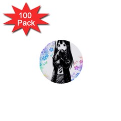 Shy Anime Girl 1  Mini Buttons (100 pack)
