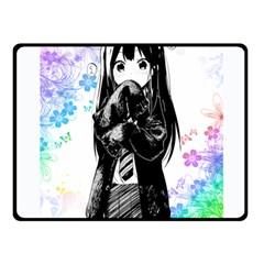 Shy Anime Girl Double Sided Fleece Blanket (Small)