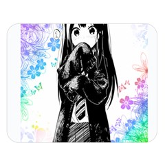 Shy Anime Girl Double Sided Flano Blanket (Large)