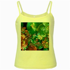 Butterflies, Bubbles, And Flowers Yellow Spaghetti Tank