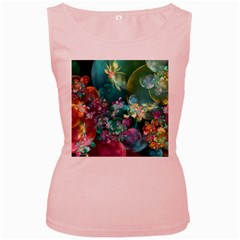 Butterflies, Bubbles, And Flowers Women s Pink Tank Top