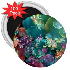 Butterflies, Bubbles, And Flowers 3  Magnets (100 pack)