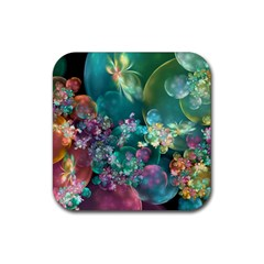 Butterflies, Bubbles, And Flowers Rubber Coaster (Square)