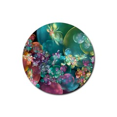 Butterflies, Bubbles, And Flowers Rubber Coaster (Round)