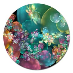 Butterflies, Bubbles, And Flowers Magnet 5  (Round)