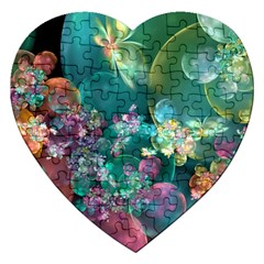 Butterflies, Bubbles, And Flowers Jigsaw Puzzle (Heart)