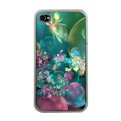 Butterflies, Bubbles, And Flowers Apple iPhone 4 Case (Clear)