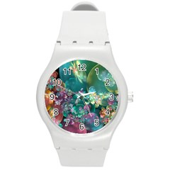 Butterflies, Bubbles, And Flowers Round Plastic Sport Watch (M)