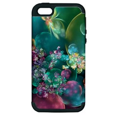 Butterflies, Bubbles, And Flowers Apple iPhone 5 Hardshell Case (PC+Silicone)