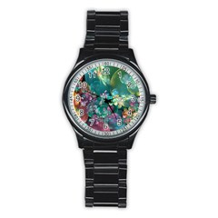 Butterflies, Bubbles, And Flowers Stainless Steel Round Watch