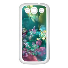 Butterflies, Bubbles, And Flowers Samsung Galaxy S3 Back Case (White)