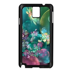Butterflies, Bubbles, And Flowers Samsung Galaxy Note 3 N9005 Case (Black)