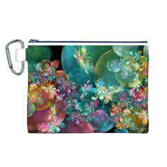 Butterflies, Bubbles, And Flowers Canvas Cosmetic Bag (L)