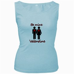 Be mine Valentine Women s Baby Blue Tank Top