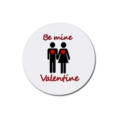 Be mine Valentine Rubber Round Coaster (4 pack)
