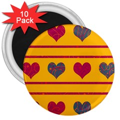 Decorative harts pattern 3  Magnets (10 pack)