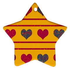 Decorative harts pattern Star Ornament (Two Sides)