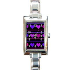 Purple and magenta harts pattern Rectangle Italian Charm Watch