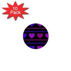 Purple and magenta harts pattern 1  Mini Buttons (10 pack)
