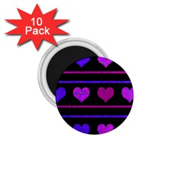 Purple and magenta harts pattern 1.75  Magnets (10 pack)