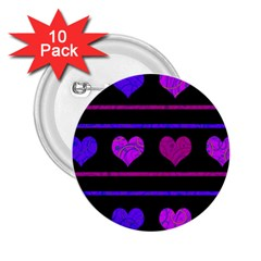 Purple and magenta harts pattern 2.25  Buttons (10 pack)